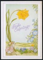 C4462 - Glückwunschkarte Ostern - Blumen Maus - Pâques