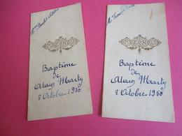 2 Menus De Repas De   Baptéme /Déjeuner-Diner/Alain MARTY/françois Boulet/Mme Boulet-Letellier/1950  MENU262 - Menus