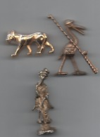 Lot 3   Fèves Métal Doré  Loup _ Chinoise _oiseau Pécheur Miniature Ou Fève - Oude
