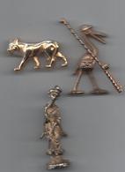 Lot 3   Fèves Métal Doré  Loup _ Chinoise _oiseau Pécheur Miniature Ou Fève - Anciennes