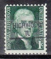 USA Precancel Vorausentwertung Preo, Locals Illinois, Highwood 841 - Vereinigte Staaten