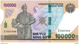 UZBEKISTAN: NEW Banknote 100000 SOM SUM SOUM 2019 UNC - Oezbekistan