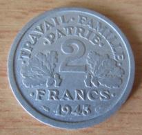 France - Monnaie 2 Francs Bazor (Francisque) 1943 B - Millésime Peu Commun - France