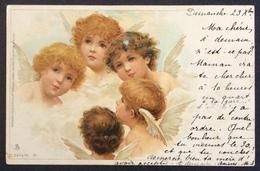 V13 CPA Raphaël Tuck Anges Série 42  6 Un Mot à La Poste Sage Paire 5c Paris 23/12/1900 - Angels