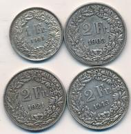 I105-20 - Monnaie Argent SUISSE - Lot De 4 Pièces - 1 Franc 1945 - 2 Francs X 3 - 1903 - 1921 - 1943 - Suisse