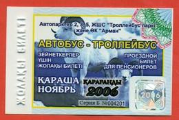 Kazakhstan 2006. City Karaganda. November - A Monthly Bus Pass For Pensioners. Plastic. - Season Ticket