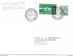 """23 - 50 - Enveloppe Avec Oblit Spéciale """"Lausanne Place De Beaulieu"""" 1937 - Marcophilie"""