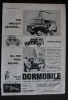 ORIGINAL 1963  MAGAZINE ADVERT FOR DORMOBILE MOTOR CARAVAN - Advertising