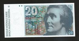 SVIZZERA / SUISSE - NATIONAL BANK - 20 FRANCS / SAUSSURE - Suisse