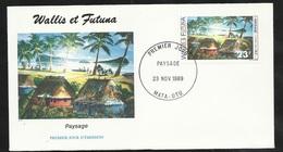 W. Et F.  Lettre Illustrée  Premier Jour Mata-Utu Le 23/11/1989 Le N°392 Art Local Paysage Wallisien   TB - Covers & Documents