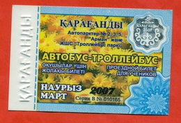 Kazakhstan 2007. City Karaganda. March - A Monthly Bus Pass For Schoolchildren. Plastic. - Season Ticket