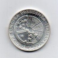 """ITALIA - 1996 - 5.000 Lire """"Unione Europea - Presidenza Italiana"""" - Argento 835 - Peso 18 Grammi - (MW2187) - 1946-… : Repubblica"""