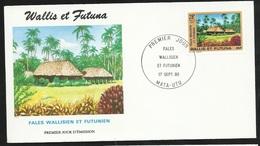 W. Et F.  Lettre Illustrée  Premier Jour Mata-Utu Le 17/09/1990   Le N°402 Fales (cases) Wallisien Et Futunien   TB - Covers & Documents