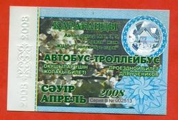Kazakhstan 2008. City Karaganda. April- A Monthly Bus Pass For Schoolchildren. Plastic. - Season Ticket