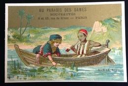 Paris Paradis Dames Rue Rivoli Chromo Dorée Egypte Nil Promenade Barque - Chromos