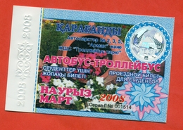 Kazakhstan 2008. City Karaganda. March - A Monthly Bus Pass For Students. Plastic. - Season Ticket