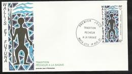W. Et F.  Lettre Illustrée  Premier Jour Mata-Utu Le 01/04/1991 Le N°409 Tradition Le Pêcheur à La Sagaie TB - Covers & Documents