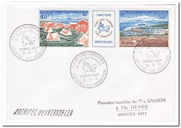 Frans Antarctica 1971, FDC, 20 Years Port-aux-Francais On Kerguelen Island - FDC
