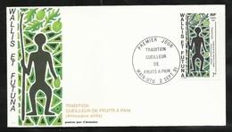 W. Et F.  Lettre Illustrée  Premier Jour Mata-Utu Le 02/09/1991 Le N°416 Tradition Le Cueilleur De Fruits à Pain  TB - Covers & Documents