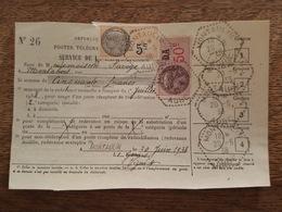 1938 Timbres Fiscaux 5c Et DA Distributeur Auxiliaire, Redevance TAD Poste Agence Rurale Montaulin, Mme Savoye Montabert - Marcophilie (Lettres)