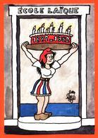 """CPSM GF Illustrée Par Jean Effel """" école Laique 1882/1982 """" Marianne - Centenaire De L'école Publique - Effel"""