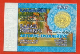 Kazakhstan 2008. City Karaganda. October - A Monthly Bus Pass For Schoolchildrens. Plastic. - Season Ticket