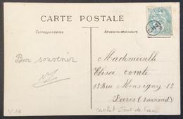 V18 Cachet Jour De L'An  Blanc 5c 111 CPA 2 Enfants Sur Bateau - Postmark Collection (Covers)