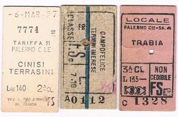 B3314 - Palermo Tre Biglietti Treni Anni 54, 57, 940? - Europa