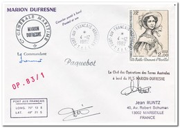 Frans Antarctica 1982, Letter To Marseille With Signatures - Enteros Postales