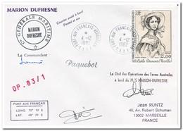 Frans Antarctica 1982, Letter To Marseille With Signatures - Postwaardestukken