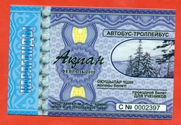 Kazakhstan 2010. City Karaganda. February - A Monthly Bus Pass For Schoolchildrens. Plastic. - Season Ticket