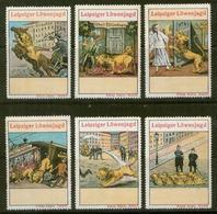 S7838 - DR 6 Werbe Vignetten Reklamemarken Leipzig,Löwenjagd 1913: Ungebraucht Ohne Gummi. - Erinnophilie
