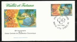 W. Et F.  Lettre Illustrée  Premier Jour Mata-Utu Le 02/12/1991 Le N°419 Caisse Centrale De Coopération économique   TB - Covers & Documents