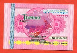 Kazakhstan 2010. City Karaganda. August - A Monthly Bus Pass For Pensioners. Plastic. - Season Ticket