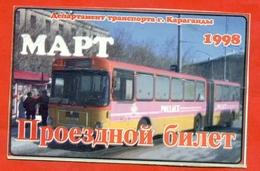 Kazakhstan 1998. City Karaganda. March - A Monthly Bus Pass. - Season Ticket
