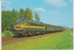 CP - TRAINS - LOCOMOTIVES - Locomotive Diesel-électrique CC Série 51 Avec Voitures Type L. - Trains