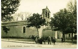 3295  -Gironde -  LACANAU  :   L' EGLISE  ET  LES  ENFANTS  DU  VILLAGE   - Circulée En 1908 - Frankreich