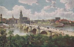 CARTOLINA - GERNAMIA - DRESDEN - FRIEDRICH - AUGUST - BRUCKE- SCHLO BPLATZ UND TREATERPLATZ - Dresden
