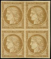 ** EMISSION DE 1849 - 1    10c. Bistre-jaune, BLOC De 4, Ch. Très Légère, Superbe - 1849-1850 Ceres