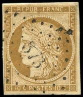 EMISSION DE 1849 - 1    10c. Bistre-jaune, Oblitéré PC 873 Sur Support, TB - 1849-1850 Ceres