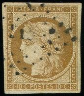 EMISSION DE 1849 - 1    10c. Bistre-jaune, Obl. PC, Nuance Tirant Sur Le Bistre-brun, TB - 1849-1850 Ceres