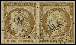 EMISSION DE 1849 - 1    10c. Bistre-jaune, PAIRE Obl. PC 908 De COLMAR, TB - 1849-1850 Ceres