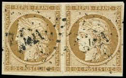 EMISSION DE 1849 - 1a   10c. Bistre-brun, PAIRE Obl. PC, TB - 1849-1850 Ceres