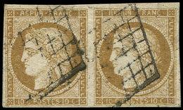 EMISSION DE 1849 - 1b   10c. Bistre-VERDATRE, PAIRE Obl. GRILLE, TB - 1849-1850 Ceres