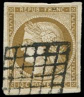 EMISSION DE 1849 - 1c   10c. Bistre VERDATRE FONCE, Obl. GRILLE, TB. C - 1849-1850 Ceres