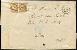 Let EMISSION DE 1849 - 1    10c. Bistre-jaune PAIRE, Obl. PC 2644 S. LSC, Cursive 55/REMILLY Et Dateur 7/6/52, TB - 1849-1850 Ceres