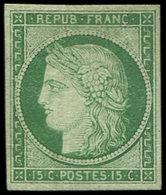 * EMISSION DE 1849 - 2    15c. Vert, Très Léger Pelurage Mais Cependant Très Frais Et TB - 1849-1850 Ceres