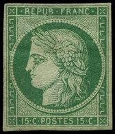 * EMISSION DE 1849 - 2b   15c. Vert FONCE, Gomme D'origine Lég. Altérée Mais Néanmoins Très Frais, TB. Certif. JF Brun - 1849-1850 Ceres