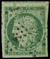 EMISSION DE 1849 - 2    15c. Vert, Oblitéré ETOILE, Très Belles Marges, TTB - 1849-1850 Ceres