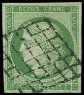 EMISSION DE 1849 - 2    15c. Vert, Oblitéré GRILLE, TB. D - 1849-1850 Ceres